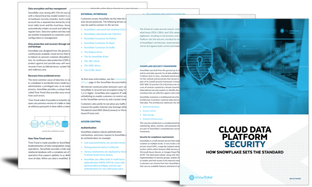 Cloud data platform security: How snowflake sets the standard