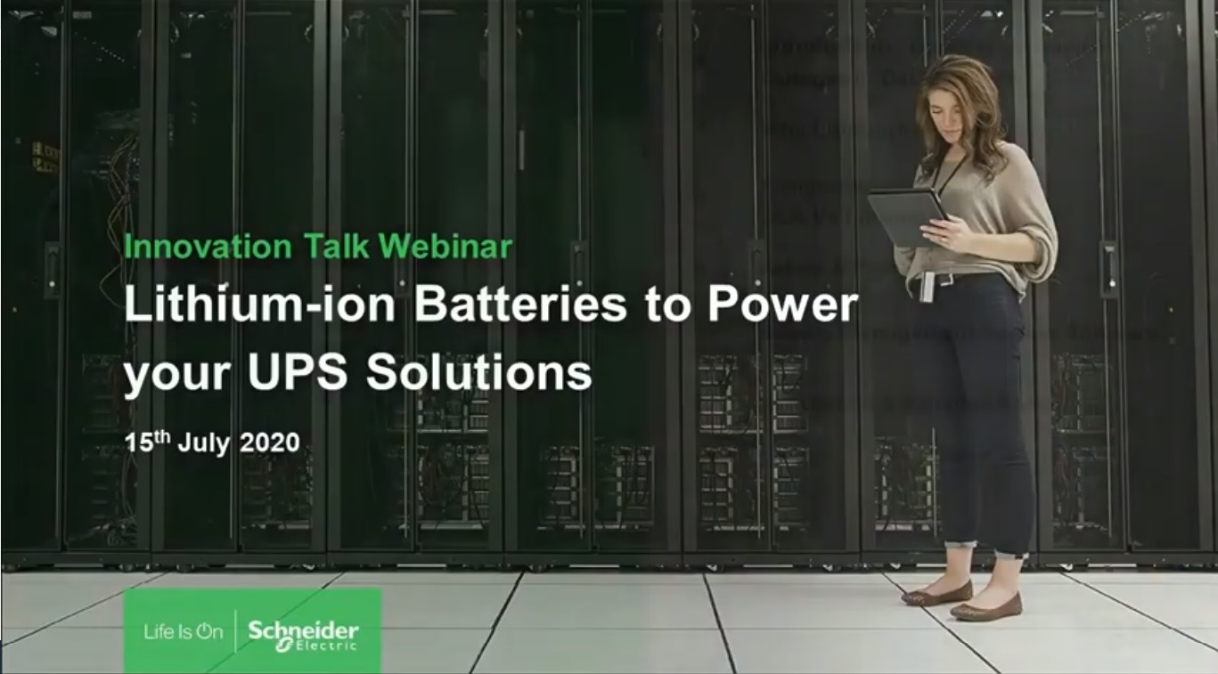 Innovation Talk: Lithium-Ion Batteries to Power your UPS
